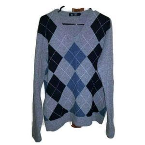 Jcrew 100% Lambswool Sweater Argyle Gray L